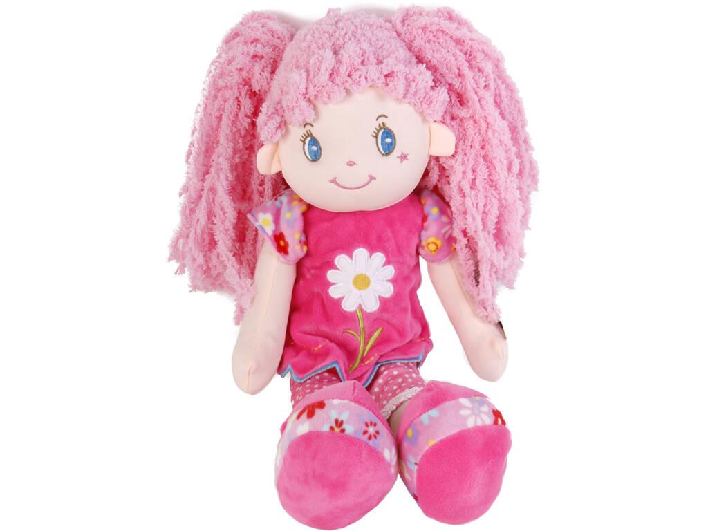 Bambola in tessuto 45 cm capelli rosa con codine