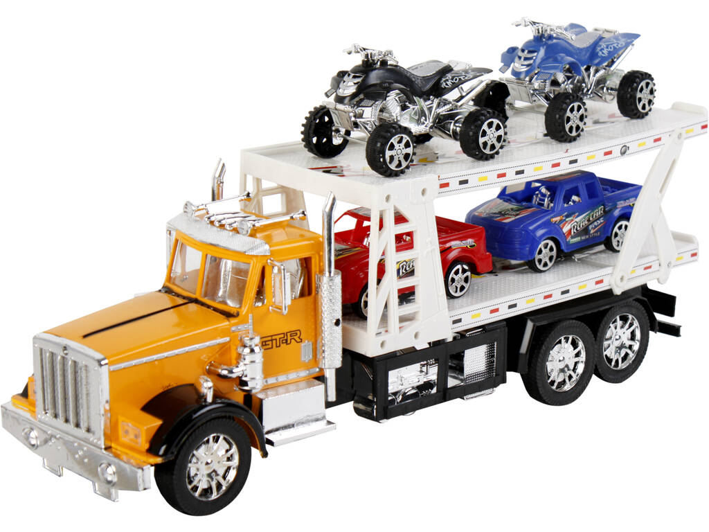 Veicolo Camion Portauto Assortito Con 2 Camioncini e 2 Quad 47x17x12cm