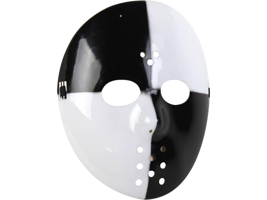 Máscara Blanca y Negra Hockey 22x23 cm.