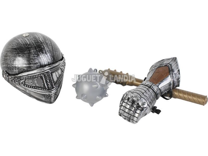 Armas Medievales Maza con Bola, Casco y Guantelete