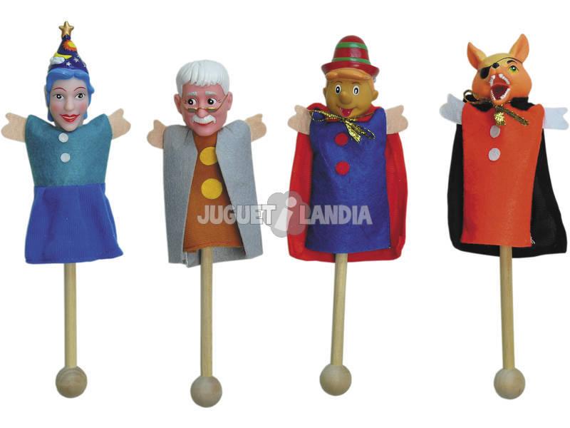 4 Marionetas Con Palo Con 9 Tarjetas Marionetas