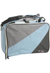 Bolso bebé gris azul con cambiador