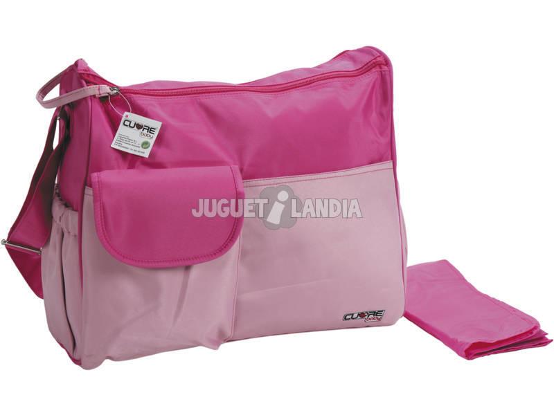 Bolso bebé rosa con cambiador