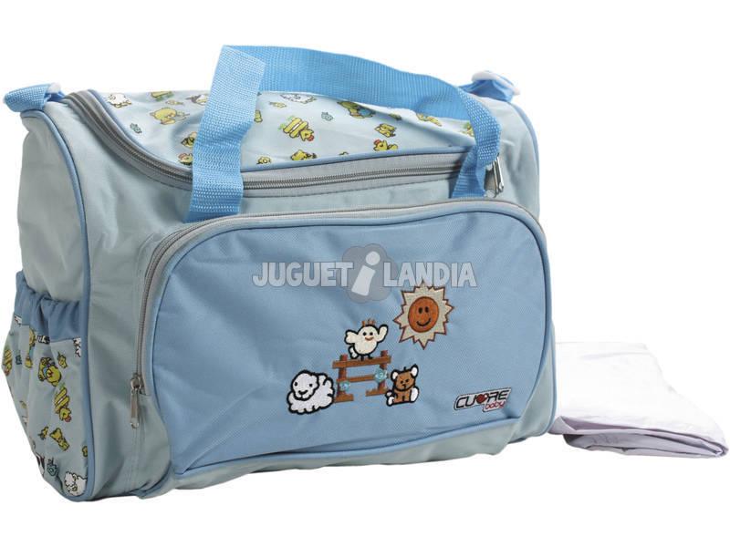 Bolso Bebé Azul Cielo Con Cambiador