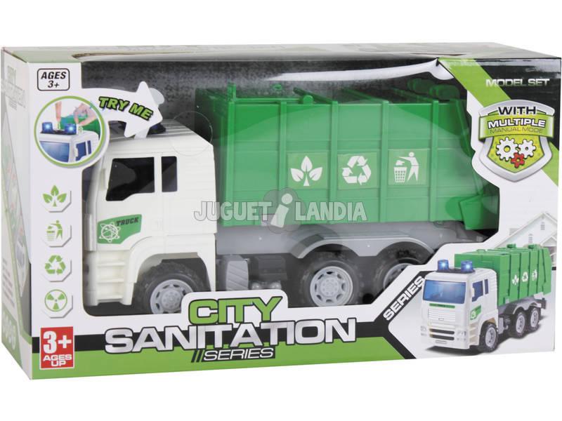 Vehículo Camión de Recogida de Basura Con Luces y Sonidos 14x10x27cm