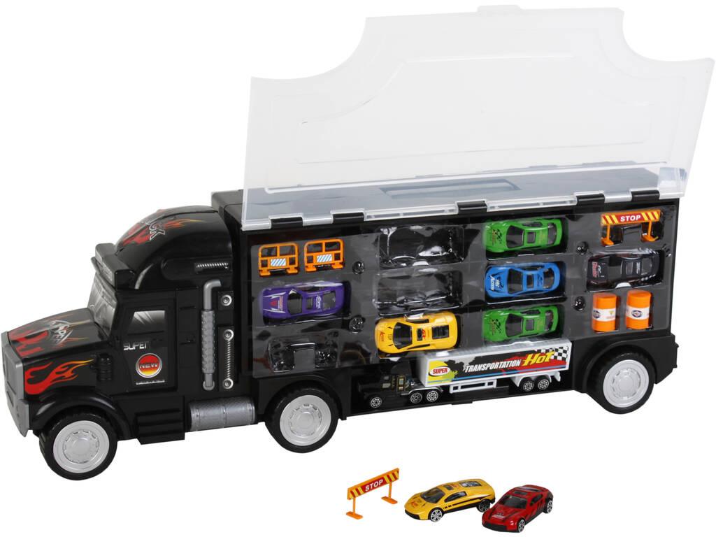 Camião 60 cm Portaveículos com 8 Carros e Camião