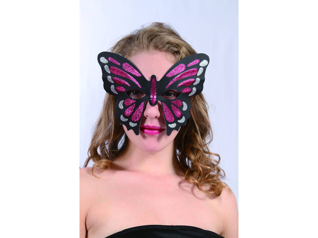 Antifaz Glitter Mariposa Granate