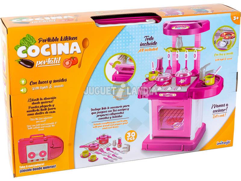 Cozinha de Brinquedo Rosa com Luzes e Sons 30 Peças