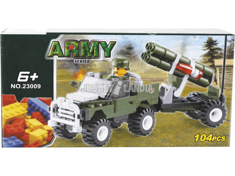 Jogo de Construção Veículo Militar Com Lança Carros 104 Peças