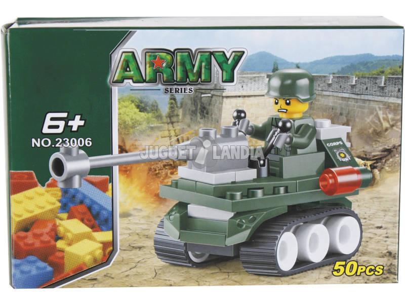 Jogo de Construção Veículo Militar Com Canhão 50 Peças