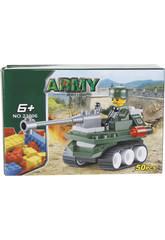 imagen Juego de Construcción Vehículo Militar Con Cañón 50 Piezas