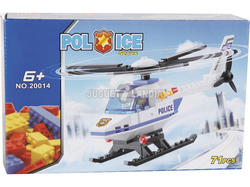 Juego de Construcción Helicóptero de Policía 71 Piezas