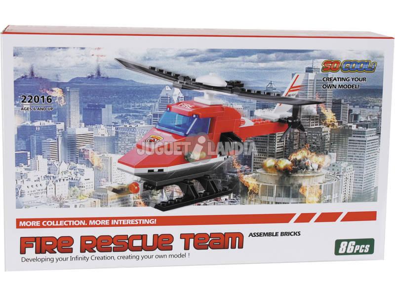 Juego de Construcción Helicóptero de Bomberos 86 Piezas
