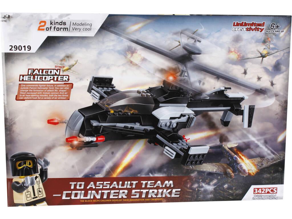 Jogo de Construção Helicóptero Militar Falcão 2 em 1 342 Peças