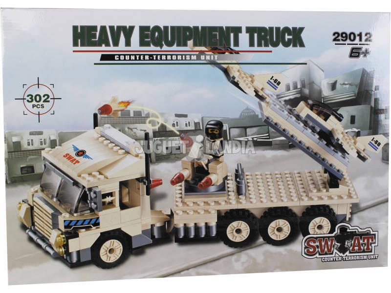 Juego de Construcción Camión Militar Con Plataforma 302 Piezas