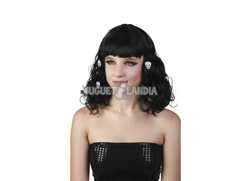 Parrucca con codini nera con teschi