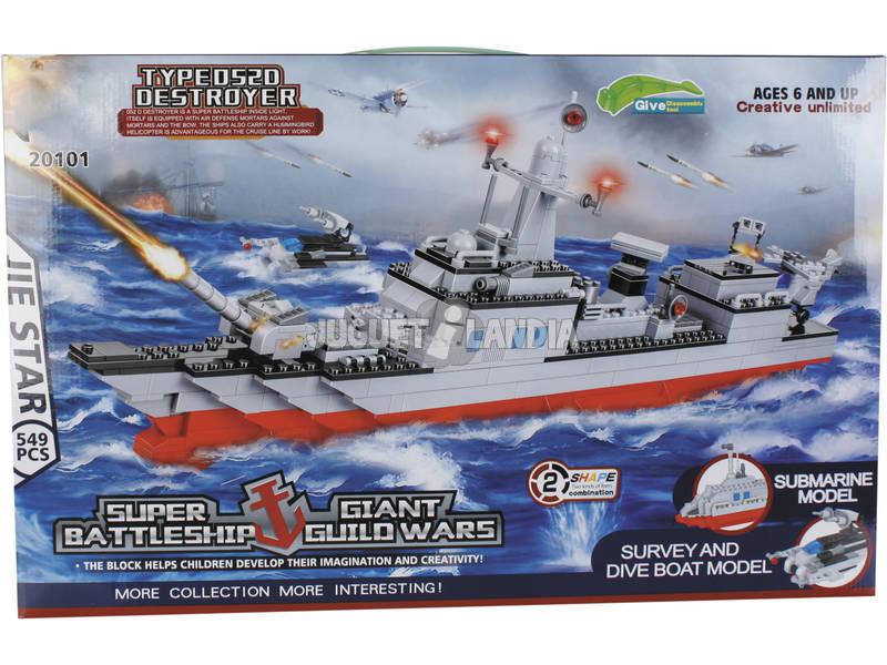 Jogo de Construção Navio de Guerra Militar 549 Peças