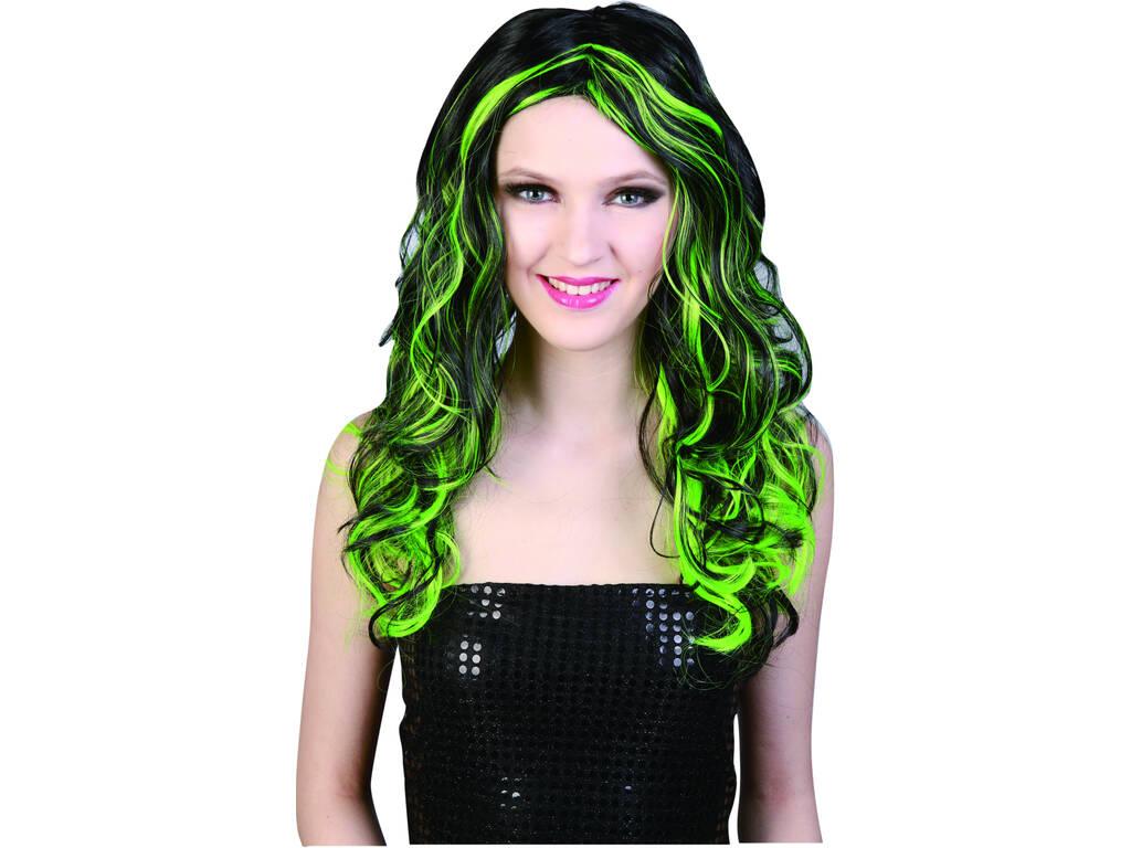 Peluca larga negra con mechas verdes