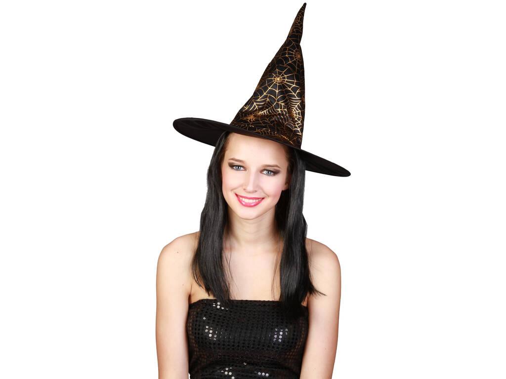 Parrucca Lunga Nera Con Cappello Strega