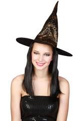 Peluca Larga Negra Con Sombrero Bruja