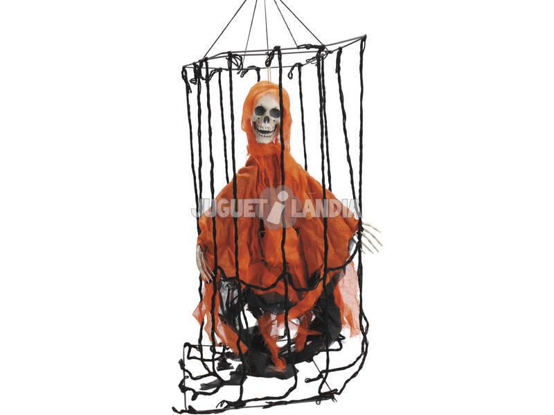 Jaula Colgante Con Esqueleto Rojo 40x30x100 cm.