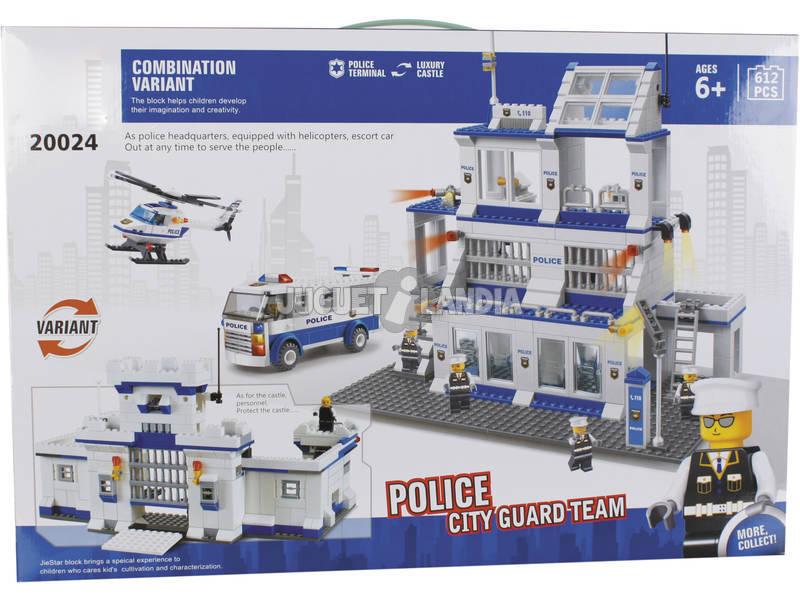 Juego de Construção Base de Polícia 612 Peças