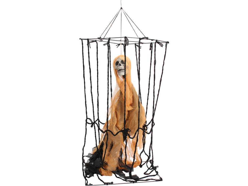 Cage Suspendu avec Squelette Orange 40x30x100 cm.