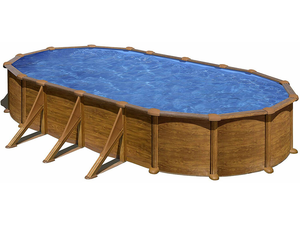 Piscina imitação madeira Maurícia 730x375x132 Cm Gre KITPROV738WO