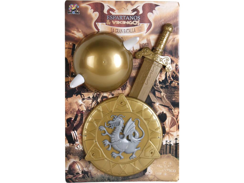Set Vikingo con Casco, Escudo y Espada