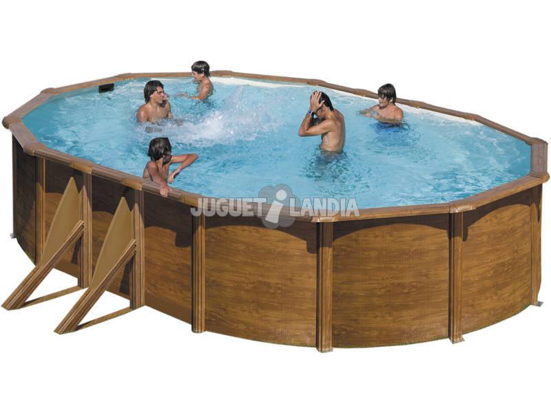 Maldivas madeira imitação piscina 500x300x132 Cm Gre KITPROV5083W