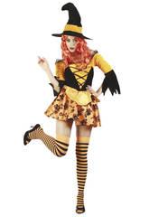 Mulher bruxa traje laranja tamanho l