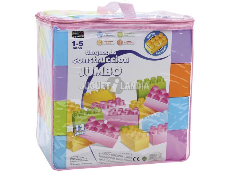 Bolsa Rosa Bloques Construcción 12 piezas Jumbo