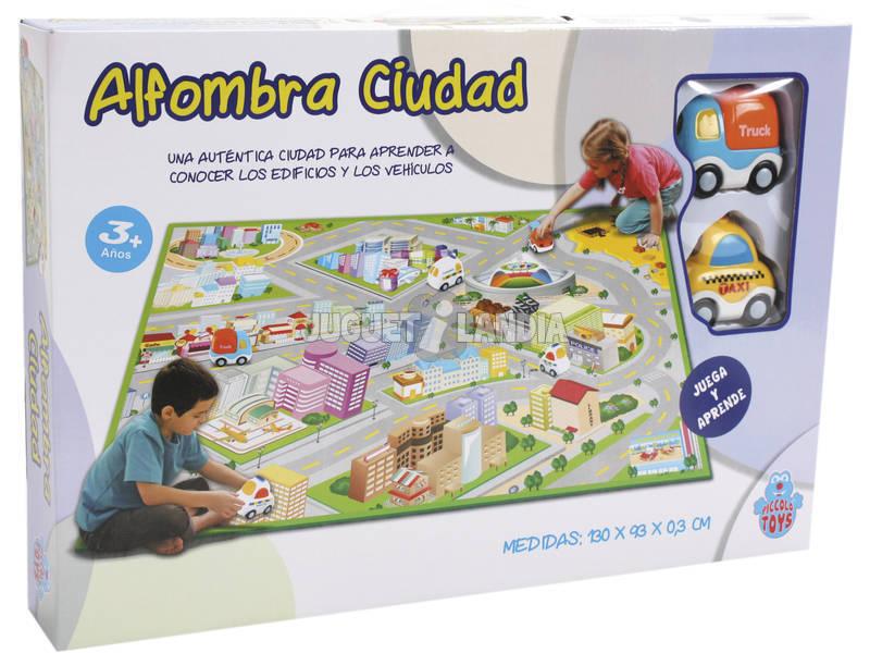 Alfombra Ciudad 130x93x0.3 cm. Con 2 Coches