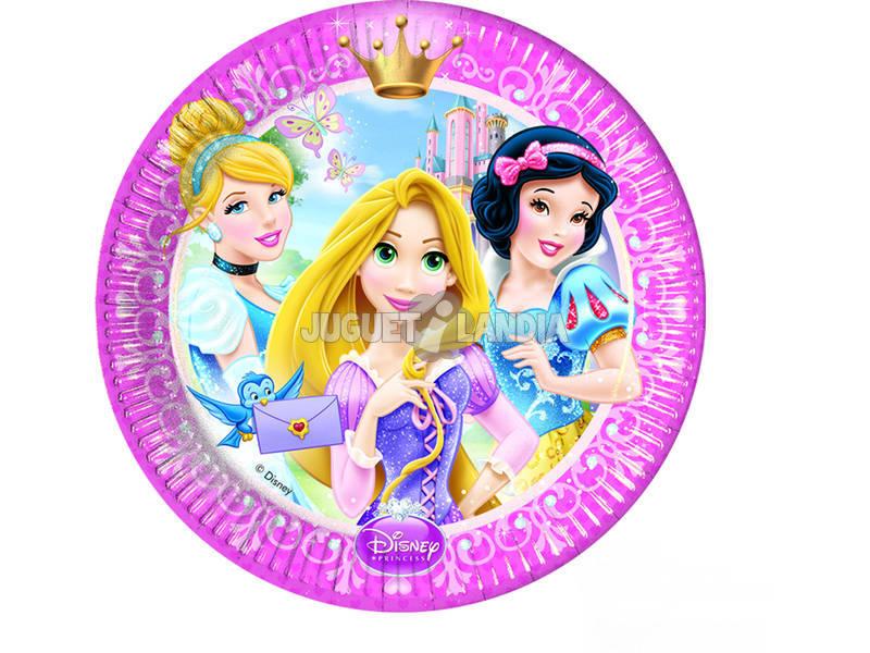 Princesas Glamour pack 8 pratos 23 cm.