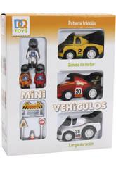 3 Mini Vehículos A Fricción Con Accesorios