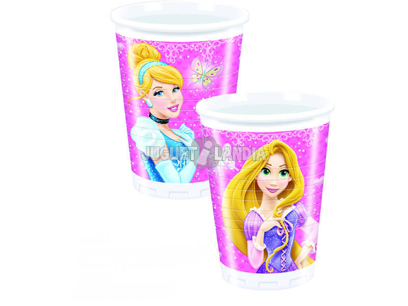 Princesas Glamour pack 8 copos 200 ml.