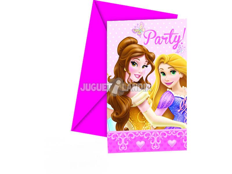 Princesses Glamour Pack 6 Invitations