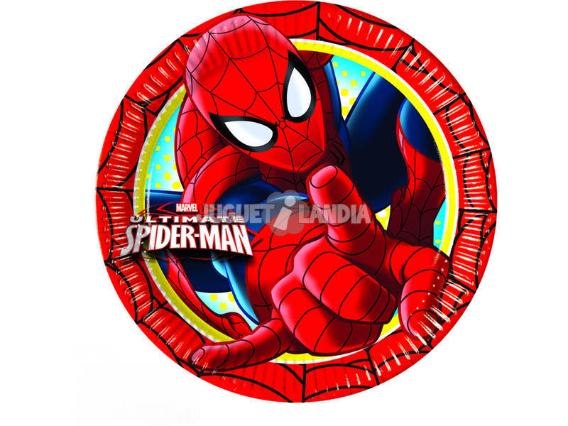 Spiderman pack 8 pratos 23 cm.