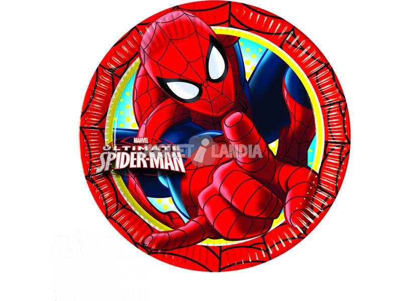 Spiderman pack 8 platos 20 cm.