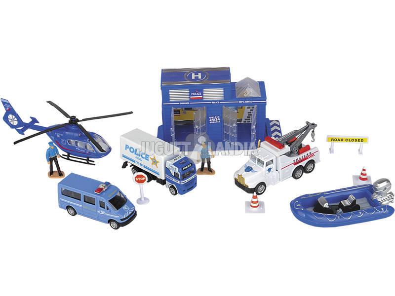 Playset Policia 12 piezas con Vehículos de Juguete