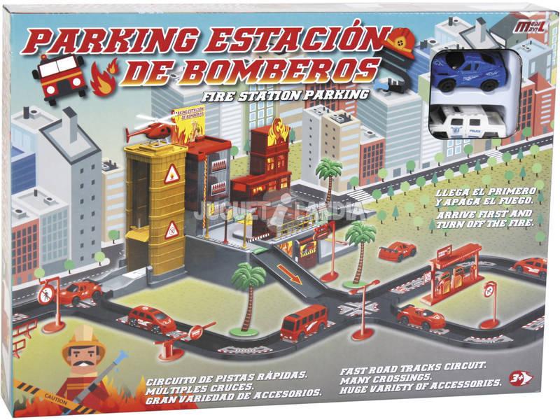Circuito Parque Bombeiros Com 2 Carros de Brinquedo
