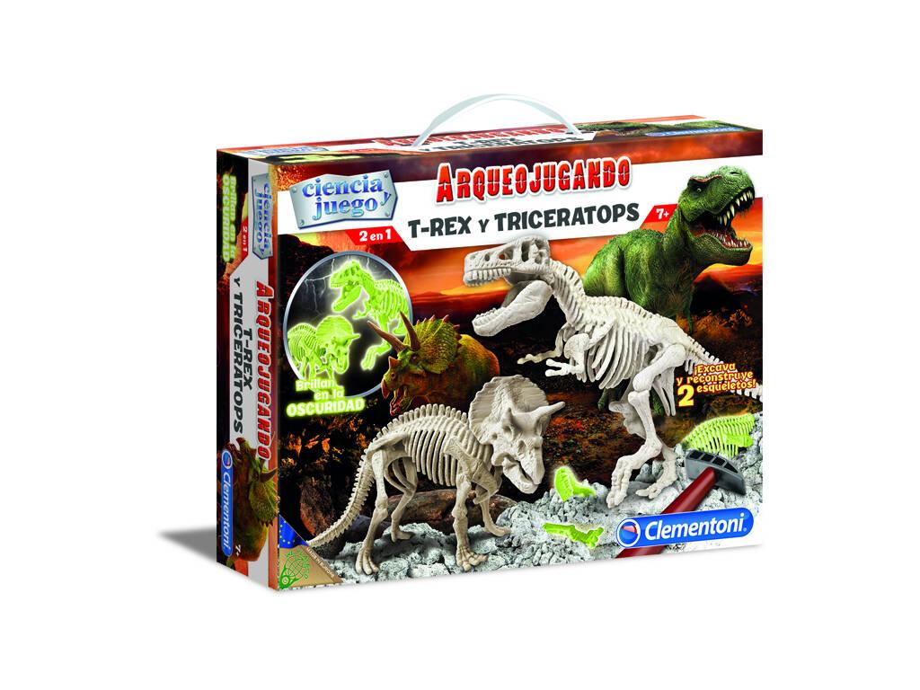Arqueojugando T-Rex e Triceratops Fluorescente