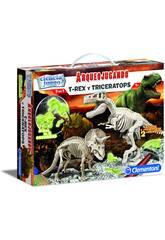 Arqueojugando T-Rex e Triceratopo Fluorescente