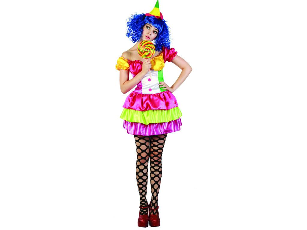 Disfraz Payasa Colores Mujer Talla L