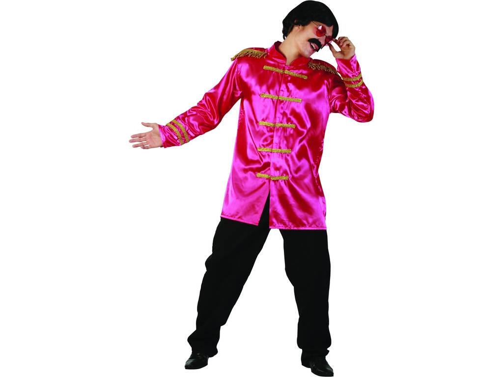 Disfarce Estrela do Rock Rosa Homem Tamanho L
