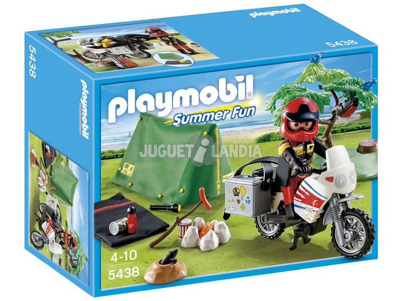 Playmobil Motorista con Tienda de Campaña