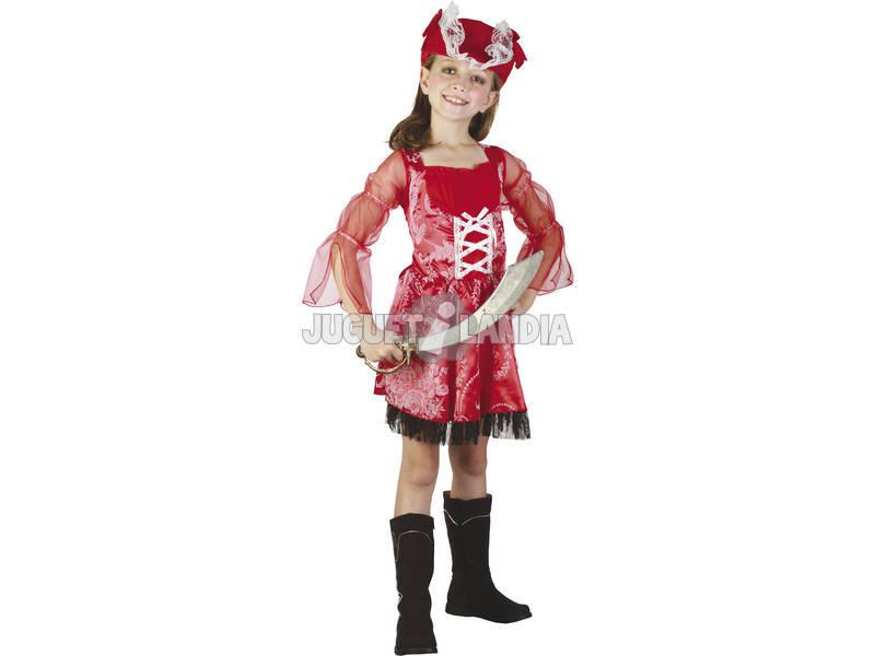 Disfarce Pirata Vermelha Menina Tamanho S