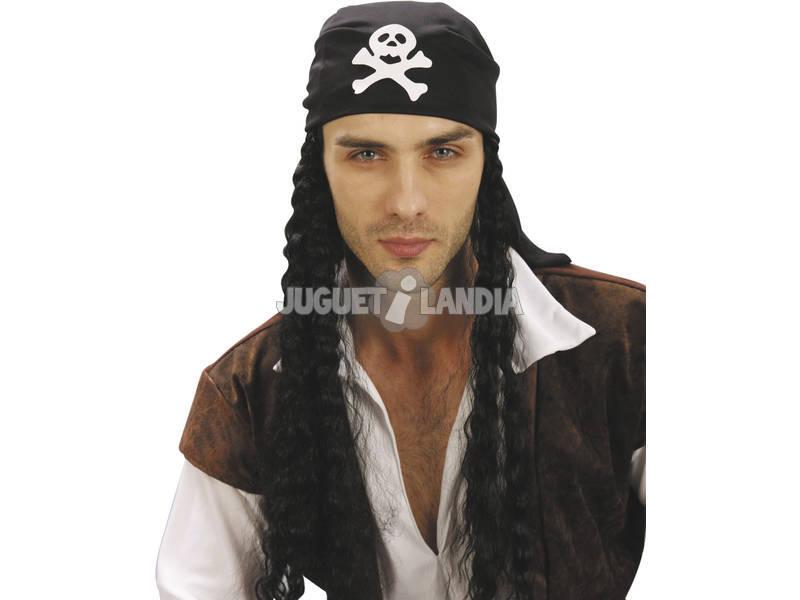 Peluca Adulto Bandana Pirata con Pelo
