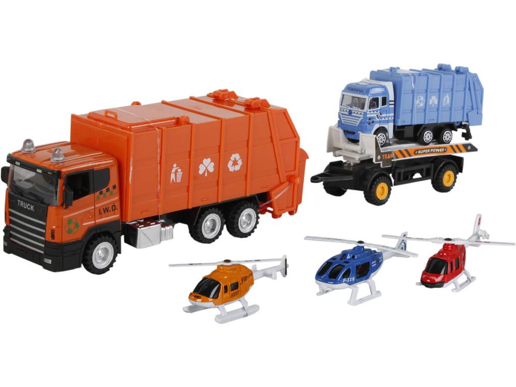 Camion Ramassage de Déchets 23 cm. Véhicule et 3 Hélicoptères