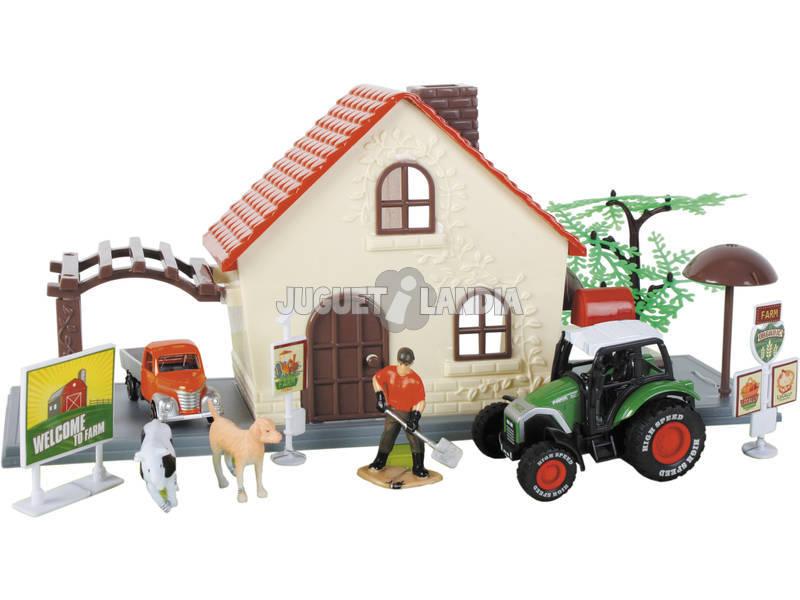 Quinta de Brinquedo 12 Peças com Trator e Camião